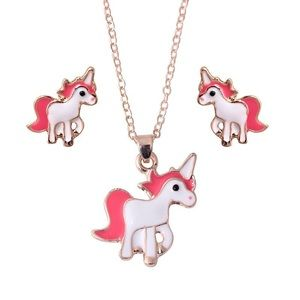NEW UNICORN PINK GOLD NECKLACE EARRING SET